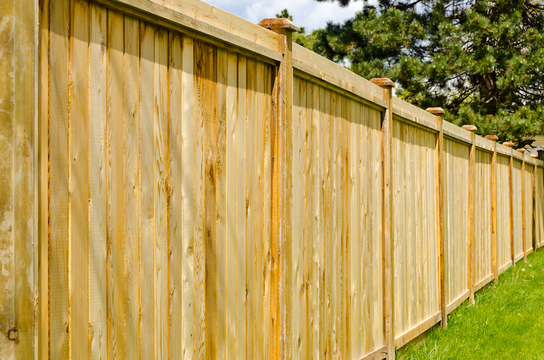 wooden fence in a garden