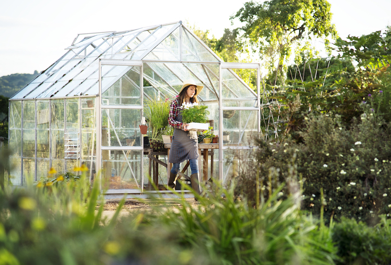 woman coming out of a greenhouse in full sun