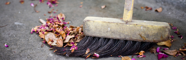 closeup of a broom brushing up dead leaves and spent blooms