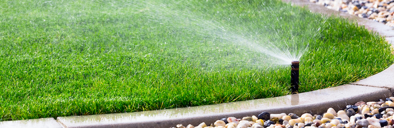green lawn getting watered by sprinklers