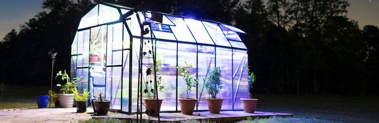 illuminated greenhouse with lights on at night
