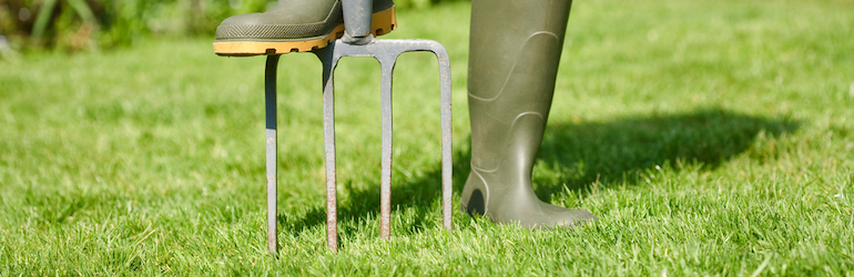foot in wellyboots aerating lawn with garden fork