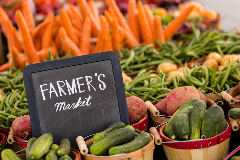 Farmers market with vegetable plot