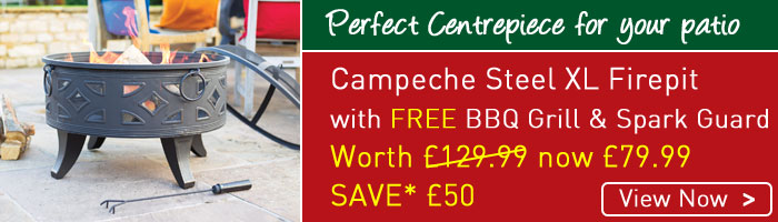 Campeche XL Firepit - only £79.99 - massive firepit complete with BBQ Grill and Spark Guard