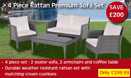 Rattan 4 piece Sofa Set - 2 seater sofa, 2 armchairs and tempered glass topped coffee table.