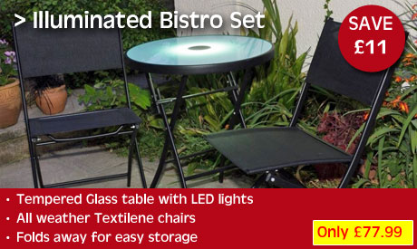 Only £77.99 for this sensational bistro set with illuminated table