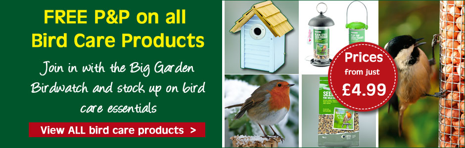 Receive FREE P&P on all products in our Bird Care Range - offer ends midnight Monday 30th January