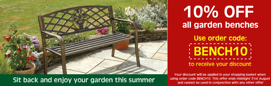 10% OFF all garden benches