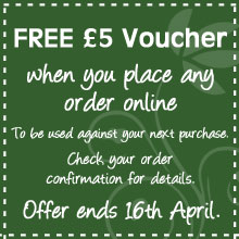 FREE £5 voucher when you place any order