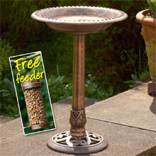 Bronze Effect Bird Bath with FREE matching feeder