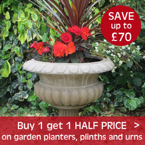 Buy 1 get 1 half price on planters, plinths and urns