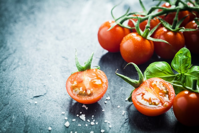 tomatoes with basil and salt