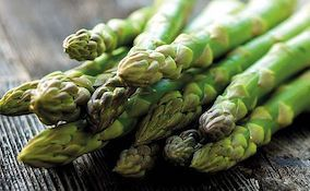 Closeup of freshly picked asparagus