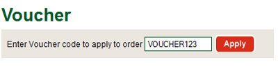 Enter your unique voucher code into the box at the bottom of your basket that says 'Enter Voucher code to apply to order'
