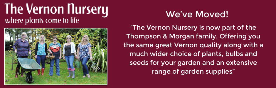 The Vernon Nursery has moved - now part of the Thompson & Morgan family and able to offer you a greater choice of plants, seeds, bulbs and garden supplies.